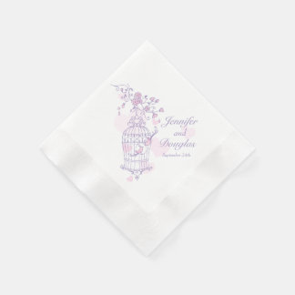 Wedding love birds purple pink paper napkins disposable serviette