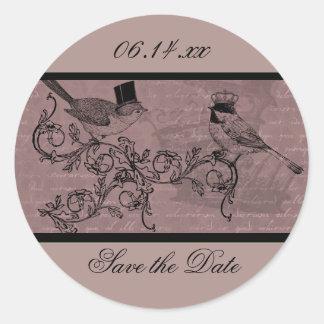 Wedding Love Birds Save the Date Round Stickers