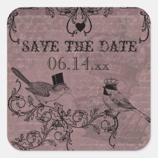 Wedding Love Birds Save the Date Stickers