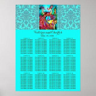 WEDDING LOVE PEACOCKS Blue Damask Seating Chart Poster