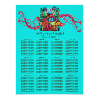 WEDDING LOVE PEACOCKS Red Swirl Blue Seating Chart Poster