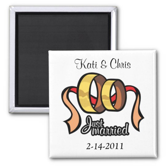 Wedding magnets Just married personalise it