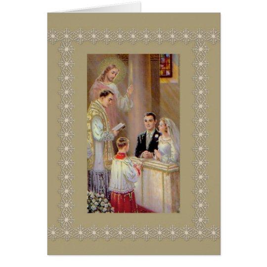 Wedding Marriage Bride Groom Jesus Priest Card