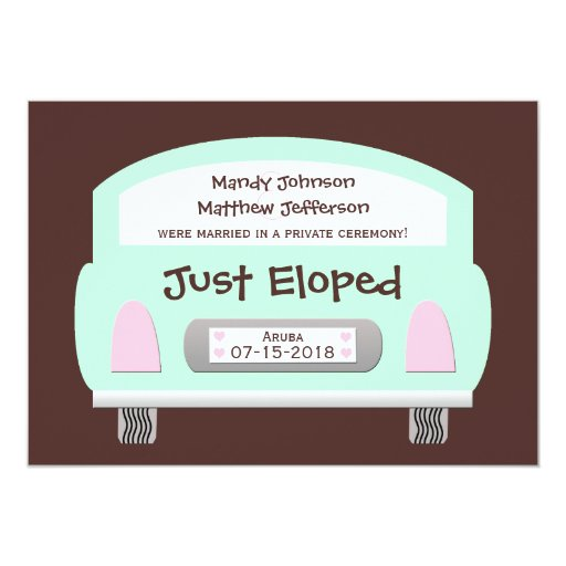 Wedding Gifts For Couples Who Eloped : Wedding Marriage Elopement Announcement Invitation Zazzle