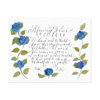 Wedding marriage vows typography artwork gallery wrapped canvas