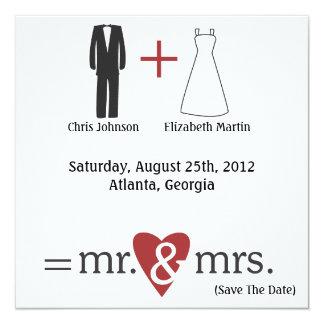 Wedding Math 5.25x5.25 Square Paper Invitation Card