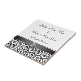 Wedding Memento Tile Stylish Black & White Damask