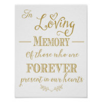Wedding Memorial table In memory print