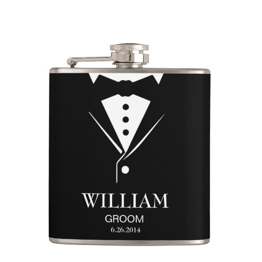 Wedding Mens Groom and Groomsmen Tuxedo Hip Flask