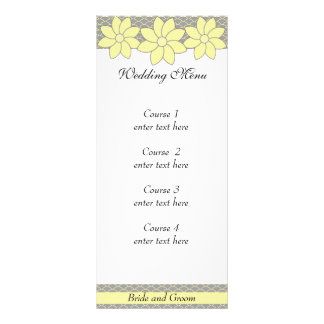 Wedding Menu 1 Yellow and Grey Floral