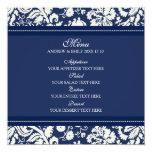 Wedding Menu Blue Floral Damask Invitation