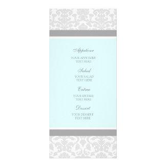 Wedding Menu Blue Gray Damask Custom Rack Card
