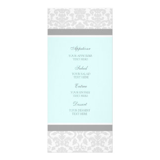 Wedding Menu Blue Gray Damask Personalised Rack Card
