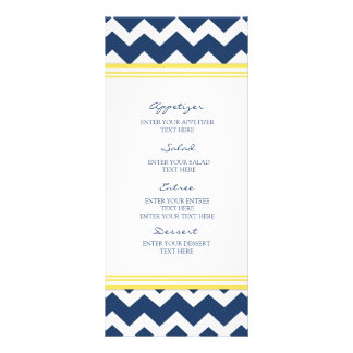 Wedding Menu Blue Yellow Chevron