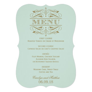 Wedding Menu Card Antique Gold Flourish