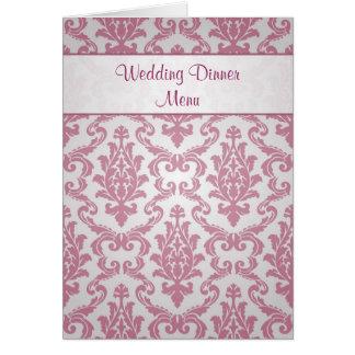 Wedding Menu card -  Damask dark pink