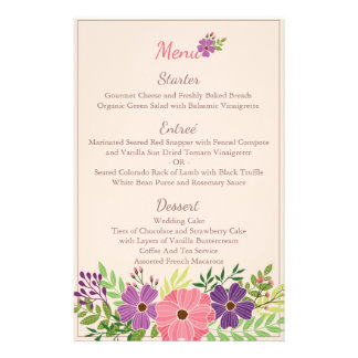 Wedding Menu Card in Wild Flower Theme 14 Cm X 21.5 Cm Flyer