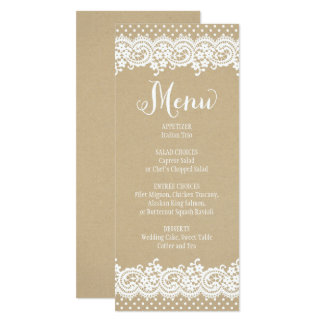 Wedding Menu Card | Lace and Kraft