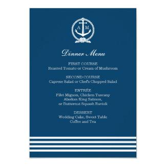 "Wedding Menu Cards | Nautical Stripes Theme 5"" X 7"" Invitation Card"
