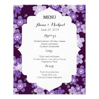 Wedding Menu Cherry Blossoms Purple Sakura 11.5 Cm X 14 Cm Flyer
