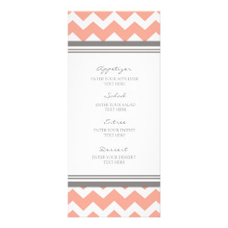 Wedding Menu Coral Gray Chevron Full Color Rack Card