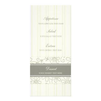 Wedding Menu Cream Floral and Stripes Rack Card