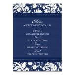 Wedding Menu Dark Blue Floral Damask Personalised Invite
