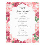 Wedding Menu Delicate Country Chic Rose & Lace Personalized Flyer
