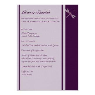 """Wedding Menu - Dragonfly 'Plum' 5"""" X 7"""" Invitation Card"""