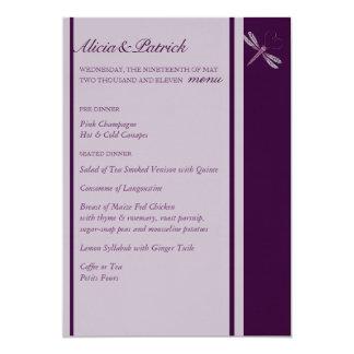 Wedding Menu - Dragonfly 'Plum' 13 Cm X 18 Cm Invitation Card