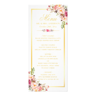 Wedding Menu Elegant Chic Gold Frame Floral Customised Rack Card
