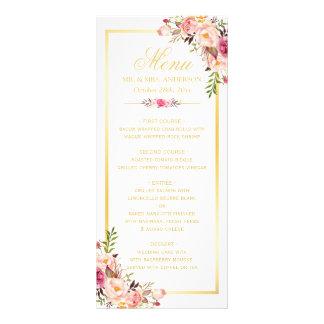 Wedding Menu Elegant Chic Gold Frame Floral Customised Rack Card