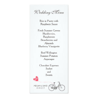 Wedding Menu elegant white romantic bike Card