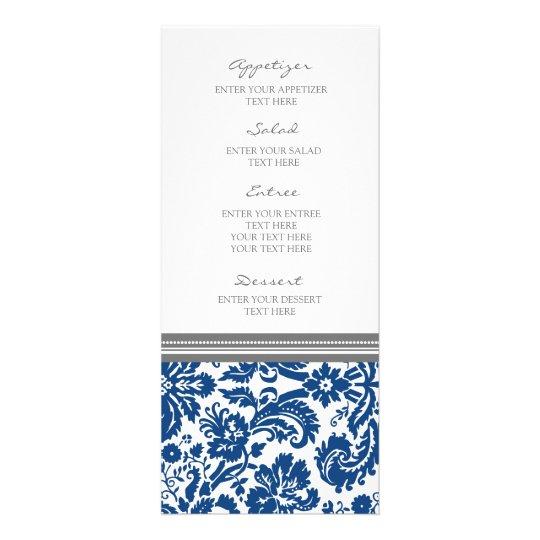 Wedding Menu Grey Blue Damask Pattern Customised Rack