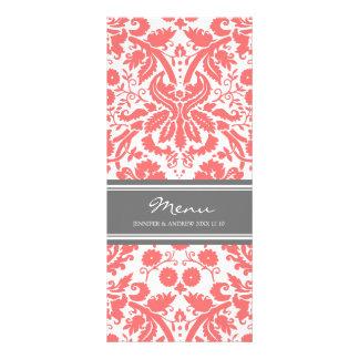 Wedding Menu Grey Coral Damask Pattern