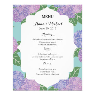 Wedding Menu Hydrangeas Hortensia Garden Wedding 11.5 Cm X 14 Cm Flyer