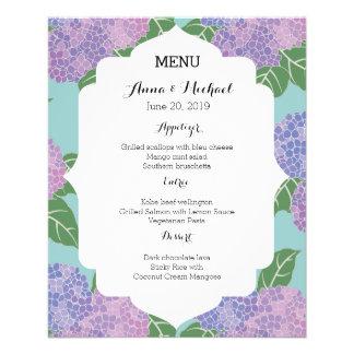 Wedding Menu Hydrangeas Hortensia Garden Wedding 11.5 Cm X 14 Cm Flyer