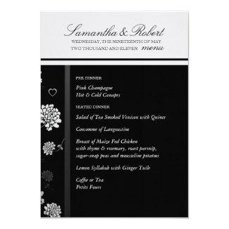 "Wedding Menu in Black and White 5"" X 7"" Invitation Card"