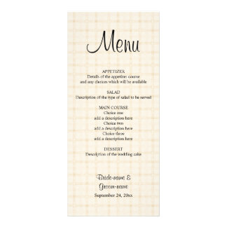 Wedding Menu in Light Beige Check and Black Text. 10 Cm X 23 Cm Rack Card