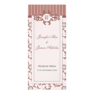 Wedding Menu in Shades of Spice Stripes & Pattern Personalised Rack Card