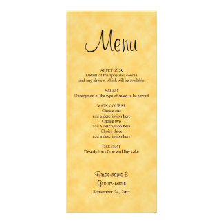Wedding Menu in Yellow and Black.