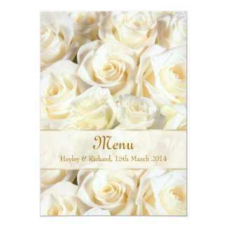 Wedding Menu Invitation card with white-cream rose