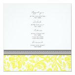 Wedding Menu Lemon Grey Damask Pattern Invites