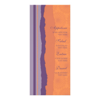 Wedding Menu Orange and Purple Swirls