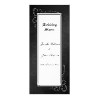 Wedding Menu Template Ornate Gothic Damask 10 Cm X 23 Cm Rack Card