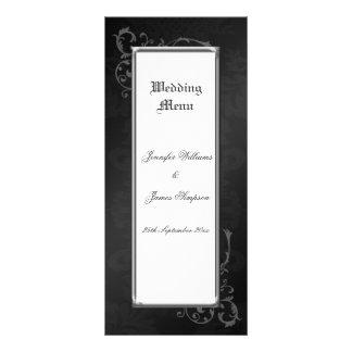 Wedding Menu Template Ornate Gothic Damask Customized Rack Card