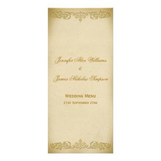 Wedding Menu Template Vintage Leaf Scroll in Beige Full Color Rack Card