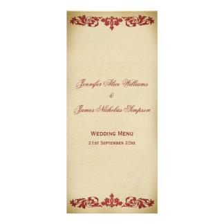 Wedding Menu Vintage Leaf Scroll in Burgundy