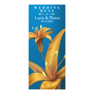 wedding menu with lily design on a blue background 10 cm x 24 cm invitation card