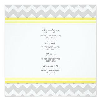 Wedding Menu Yellow Gray Chevron Card